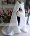 Customise Bridal Fur Jacket Pink Hooded with Faux Fur Trim Long for Bride Winter Wedding Cloak Cape