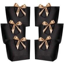 10 Uds. De Cajas de Regalo con asa dorada, bolsas de regalo de papel Kraft, recuerdos de boda para invitados, decoración de fiesta de cumpleaños