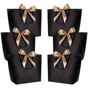 Image 1 - 10pcs ของขวัญกล่องบรรจุภัณฑ์ Gold Handle กระดาษของขวัญถุงกระดาษคราฟท์งานแต่งงานโปรดปรานสำหรับผู้เข้าพัก Baby Shower Birthday Party ตกแต่ง