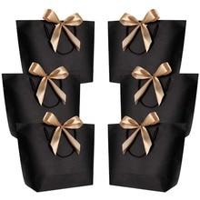 10pcs אריזת מתנה אריזה זהב ידית שקיות מתנת נייר קראפט נייר חתונה טובה עבור אורחים תינוק מקלחת מסיבת יום הולדת קישוט