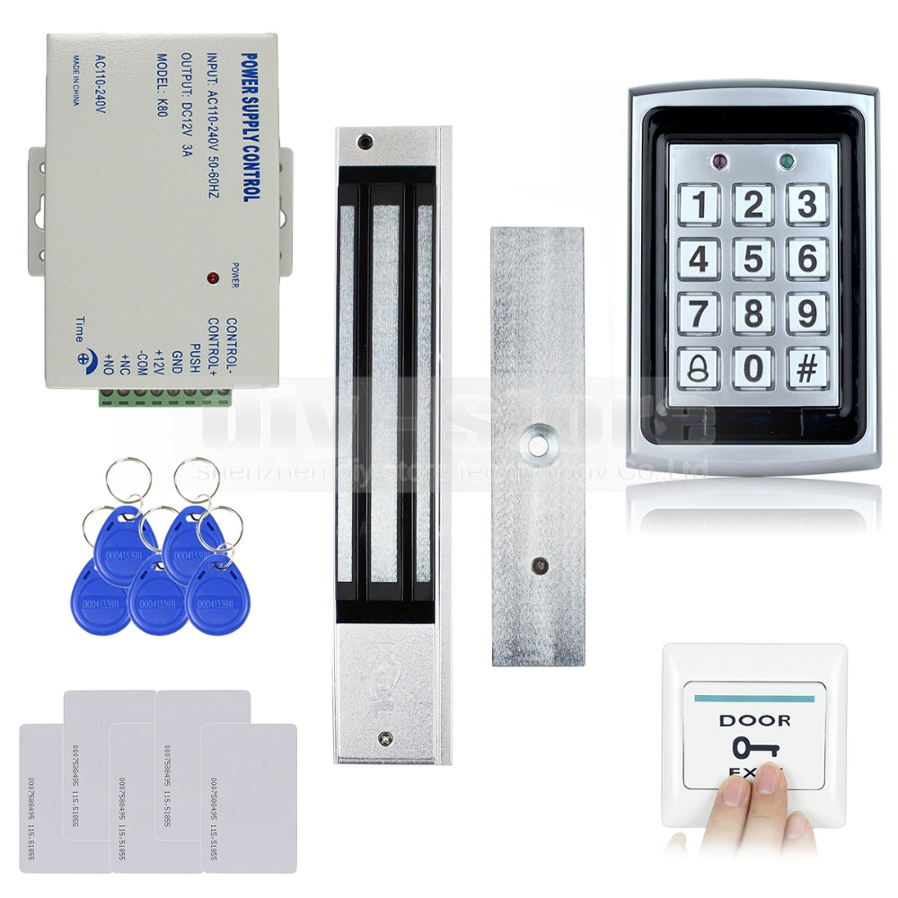 DIYSECUR RFID Metal Case Keypad Door Access Control Security System Kit + 280kg Magnetic Lock + Exit Button 7612 diysecur 125khz rfid reader password keypad access control system security kit 280kg magnetic lock door lock exit button
