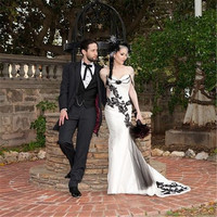 Unique Gothic 2016 New Sweetheat White Black Lace Taffeta Mermaid Wedding Dress Bridal Gowns Vestido De