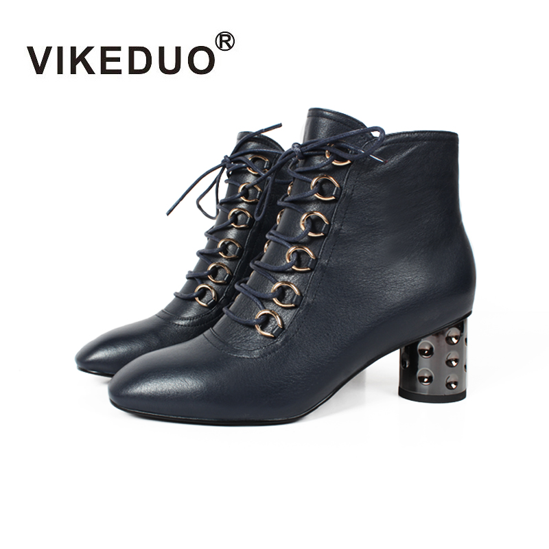Vikeduo Square Hee Stylish Elegant Female Lady Zipper Lace Up High Heels Dress Shoes Ankle Boots Woman