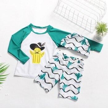 e0bff671b MUQGEW conjuntos de verano niños ropa de niño niños niñas de dibujos  animados botánica Top + Pantalones cortos + sombrero traje de baño  conjuntos ropa de ...