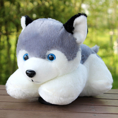 Hot sale plush puppy Plush Toy 28CM Lie prone dog  super cute and vivid Husky dog plush toys gift Baby Toys Free Shipping wholesale husky plush toy dog 40cm the whole network lowest price free shipping