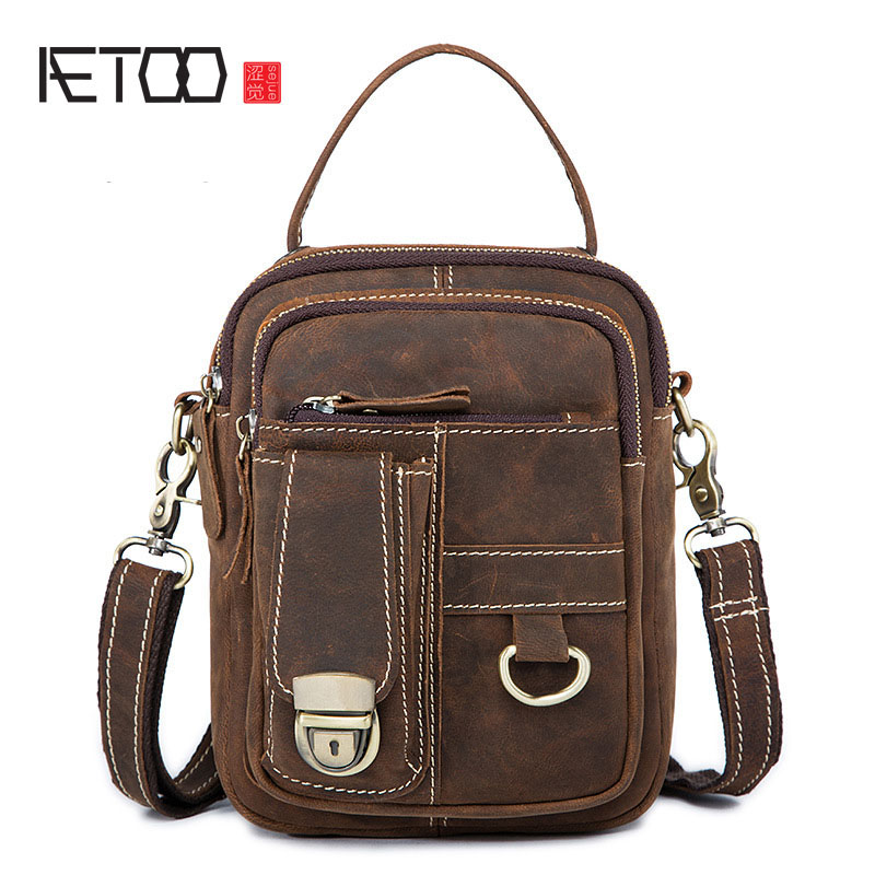 AETOO Leather men bag Europe and the United States retro men shoulder bag head layer of leather Messenger bag purse bag europe and the united states simple geometric pattern hand bag head layer of leather in the long wallet multi card large capacit