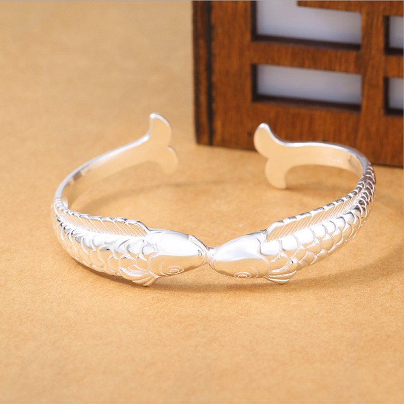 New Exquisite Cute Fish 925 Sterling Silver Jewelry Bracelets Pisces Double Ethnic Style Retro Bangles
