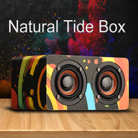 New Colorful Cute Double horn Wooden Bluetooth speaker portable Subwoofer music HIFI receiver handfree call Wireless