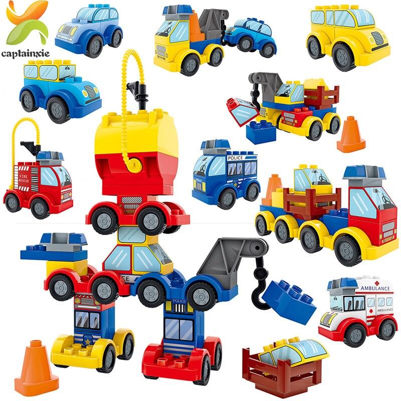 56 pièces Citadine bricolage Blocs De Construction Duploed Police bus camion Robot Créateur Éducatifs Assemblés Briques Jouets pour enfants