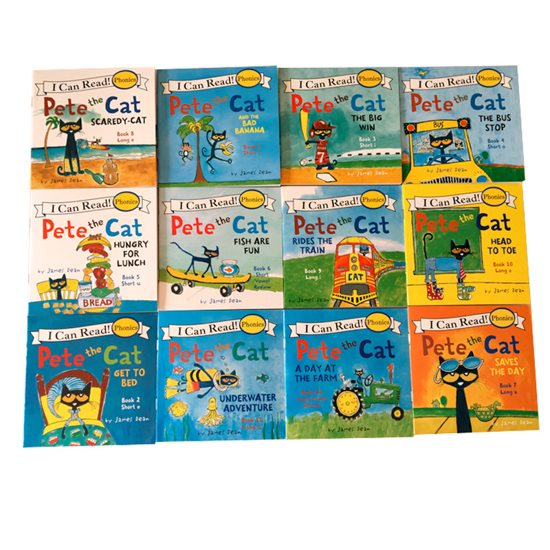 12 Books/Set I Can Read Pete The Cat English Picture Books Children Story Book Early Educaction Pocket Reading Book