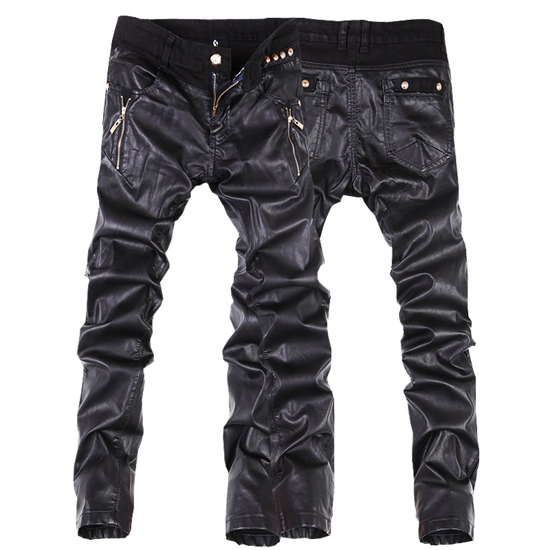 Hot Sale Fashion Men Leather Pants Slim Fit Skinny Jeans Motorcycle Trousers Size 28-36 B104