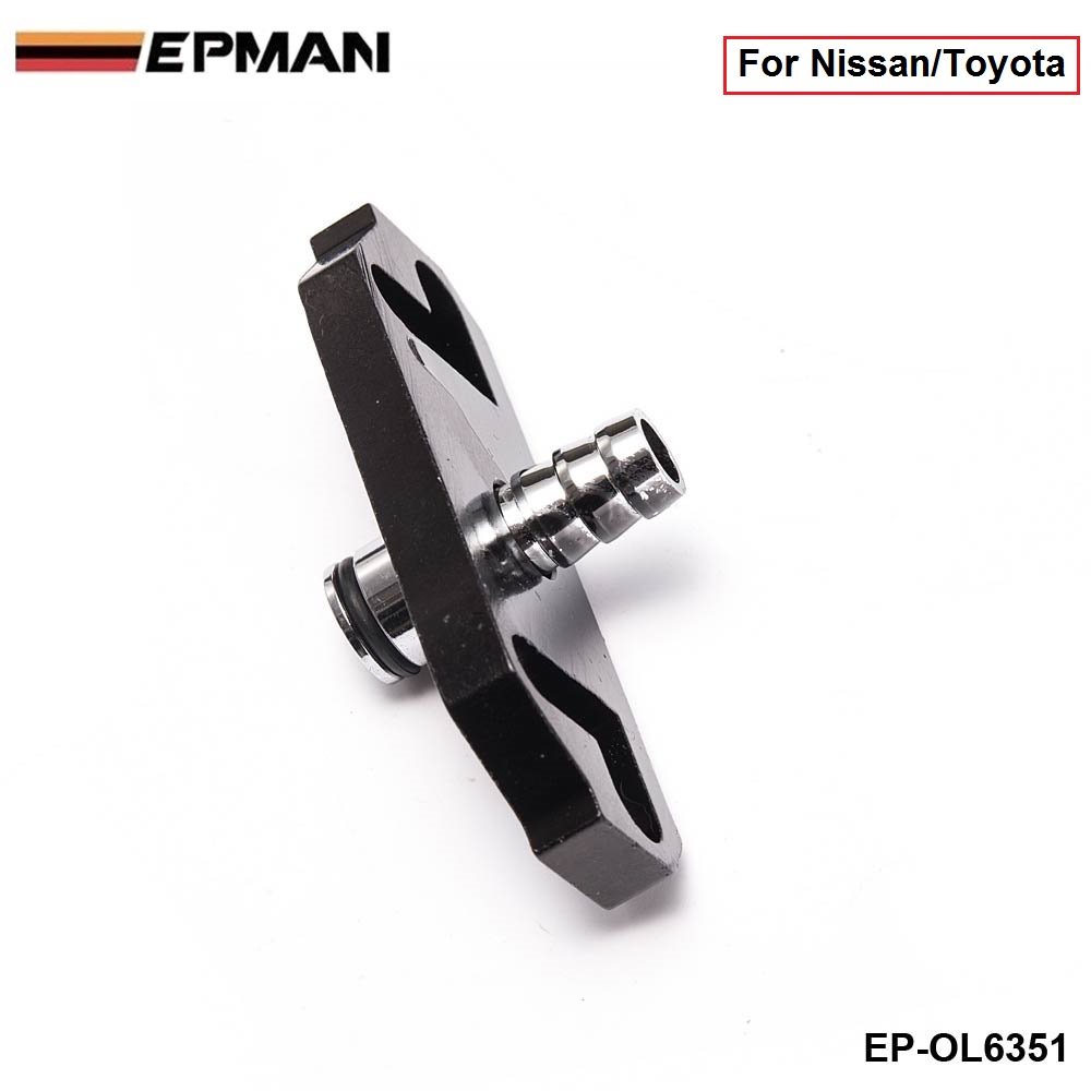 EPMAN - 1PC Black Turbo Fuel Rail Delivery Regulator Adapter For Sard Regulator fit for Nissan/Toyota EP-OL6351 (1PC)