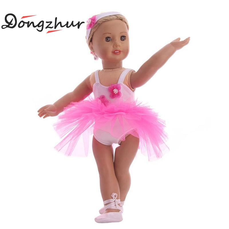 American Girl Doll Clothes Ballet Dress Shoes Set Toys Children Doll Clothes For 18 American Girl Doll Accessories Pink Color american girl doll clothes halloween witch dress cosplay costume for 16 18 inches doll alexander dress doll accessories x 68