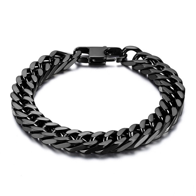 curb link bracelet steel chain wide item mens durable black men stainless heavy