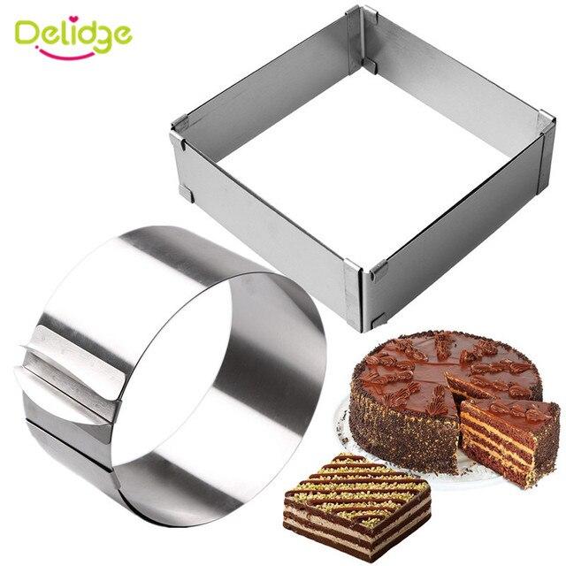 Delidge 2 sztuk/zestaw ze stali nierdzewnej regulowane ciasto z musem pierścień 3D okrągła i kwadratowa forma do ciasta ciasto foremki na ciastka