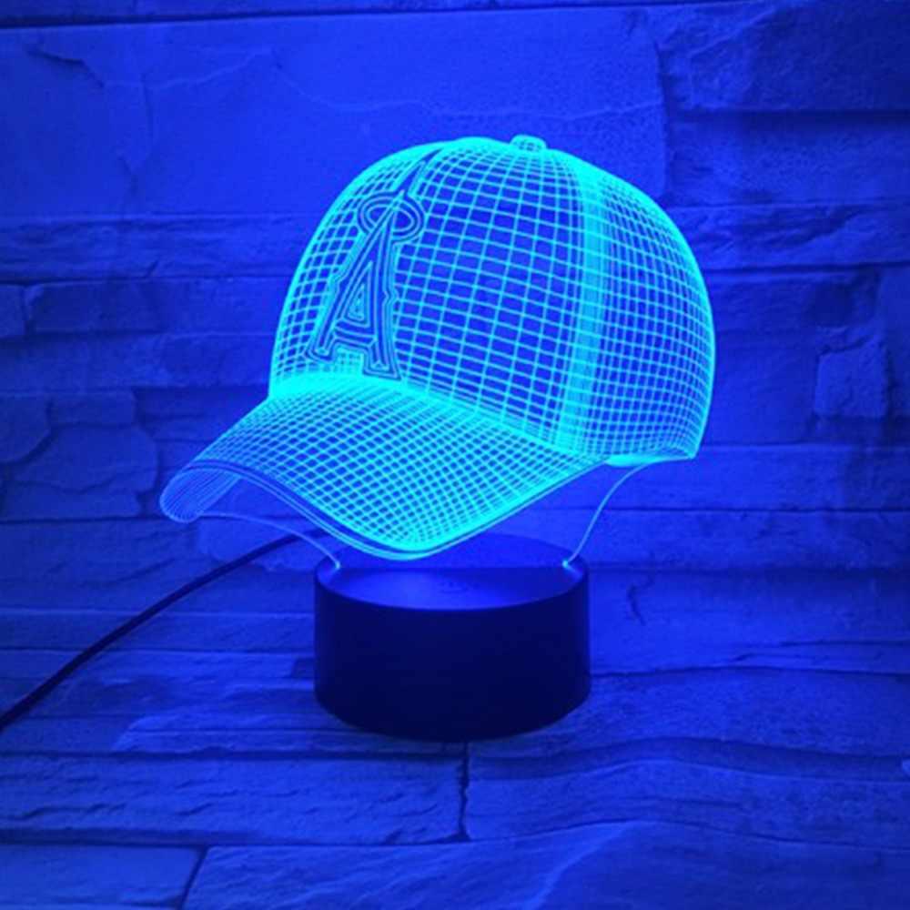 3D лампа шляпа бейсбольный шлем светодиодный лампа Спортивная клубная команда логотип светодиодная лампа 7 цветов пеленальная настольная лампа 3D ночник детский мальчик подарки