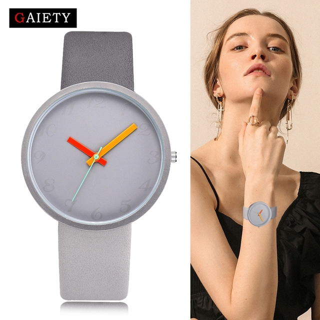 Women Watch Gray Contrast Leather Quartz Watch Women Watches Lovers Unisex Casua