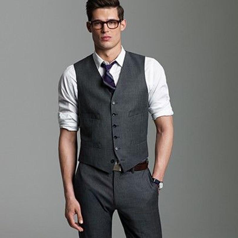 2017 Wedding Men Suit Single Breasted Dark Grey Vest Slim Fit Pants Groom Tuxedos Formal Groomsman Business Cloths In Suits From Mens Clothing