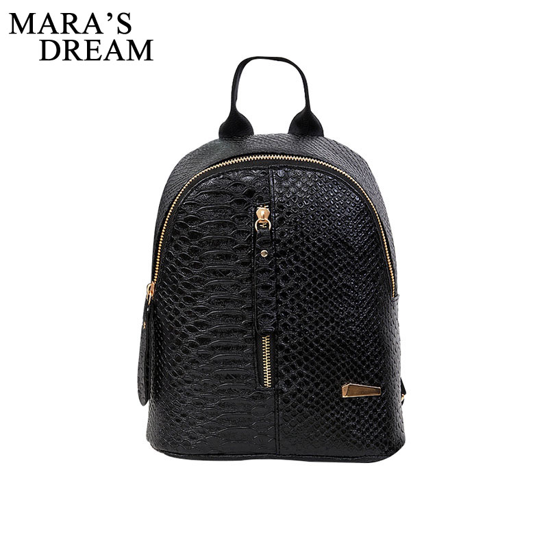 Mara's Dream 2018 PU Leather Women Backpack Crocodile Pattern Solid School Backpack Female Preppy Style Women Small School Bag fashion style women crocodile pattern doctor women backpack famous bags women s pu leather rucksack bag z762