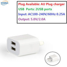 AU Plug 5V 2A 2USB Output, phone Travel Charger Adapter Compatible country Australia New Zealand etc.