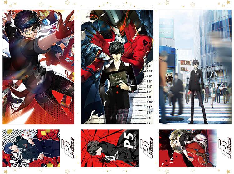Persona 5 Protagonist Joker Ren Amamiya Ryuji Sakamoto Postcard Post Cards Sticker Artbook Brochure Gift Cosplay Props Book Set