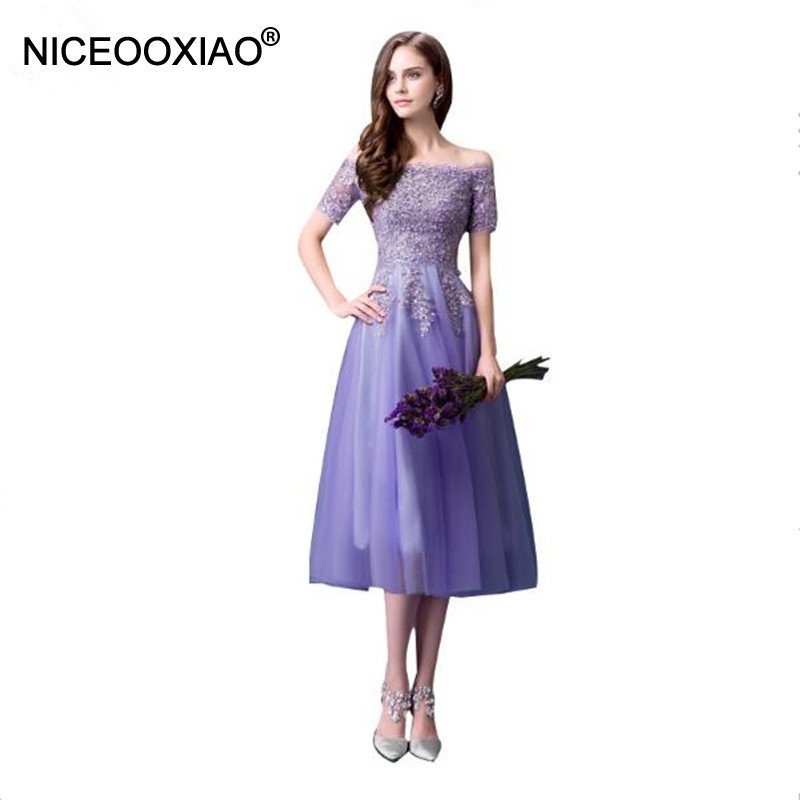 NICEOOXIAO LAGER Abendgarderobe Elegante Frauen Sexy Schulterfrei Spitze Kleider Plus Größe