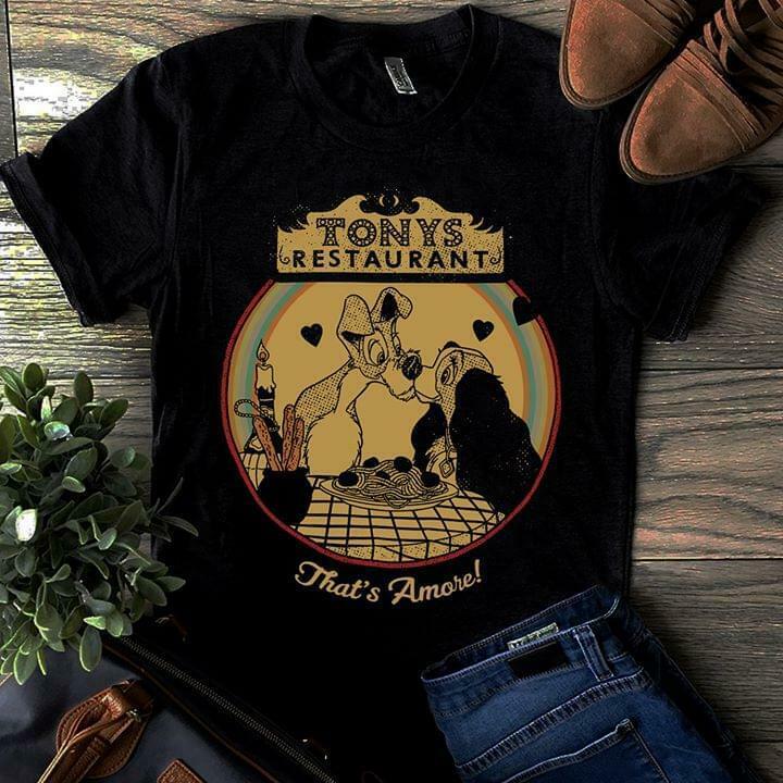 Lady & The Tramp Restaurant That'S Amore Men'S Black T Shirt Cotton S 4Xl