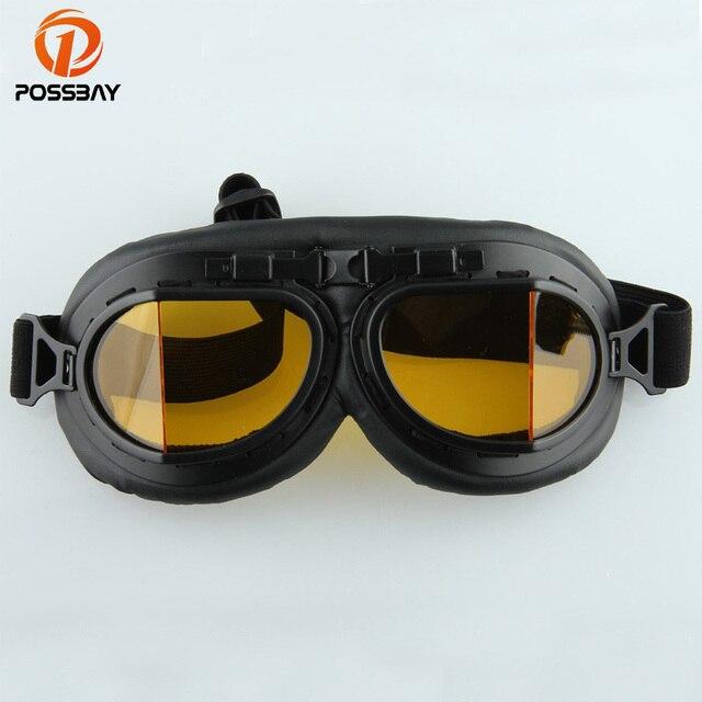 8319953b57987 POSSBAY Goggles Motocicleta Óculos de Motocross Clássico Retro Aviator  Pilot Cruiser Protetor Ciclismo Oculos Gafas MX