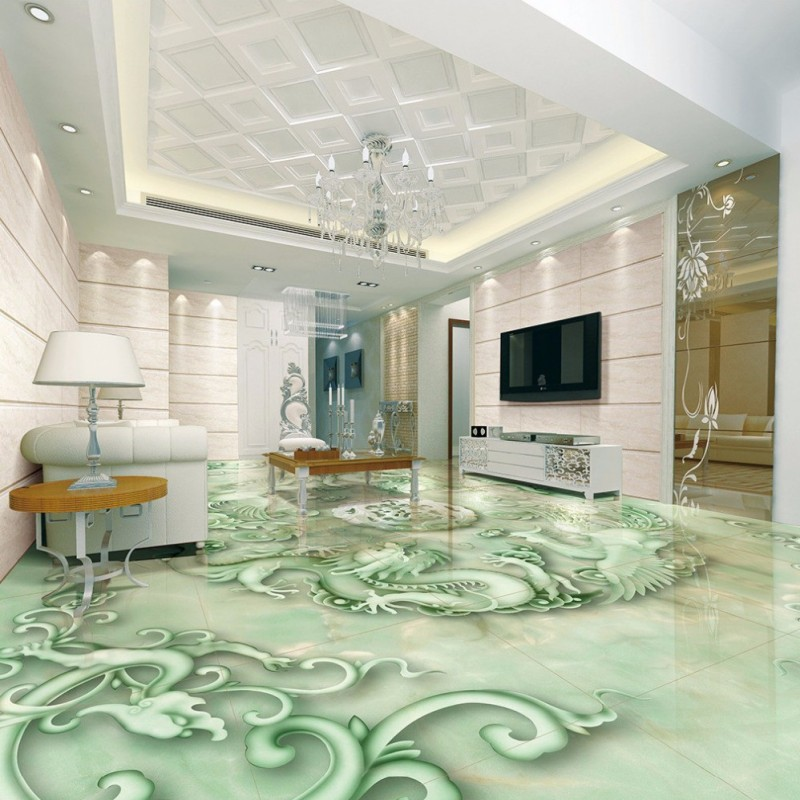 Free Shipping custom Chinese Dragon Phoenix 3D relief jade floor painting bedroom living room office non-slip floor wallpaper free shipping chinese factory custom 2017 100