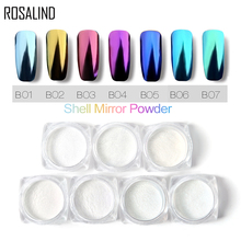 ROSALIND 1 box Shell Nail Mirror Powder Nail Glitters Blue Purple Pigm