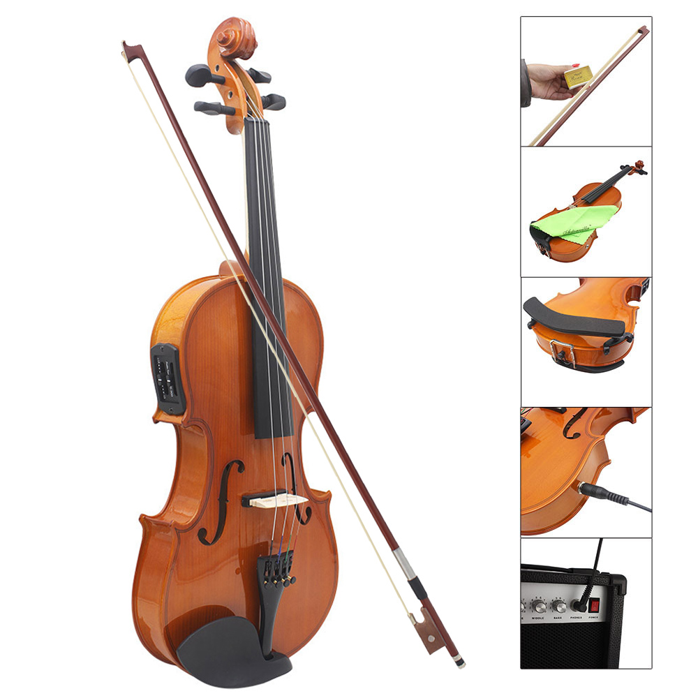 4 4 Full Size Natural Acoustic EQ Violin Fiddle Solid Wood Spruce Face Board with 6