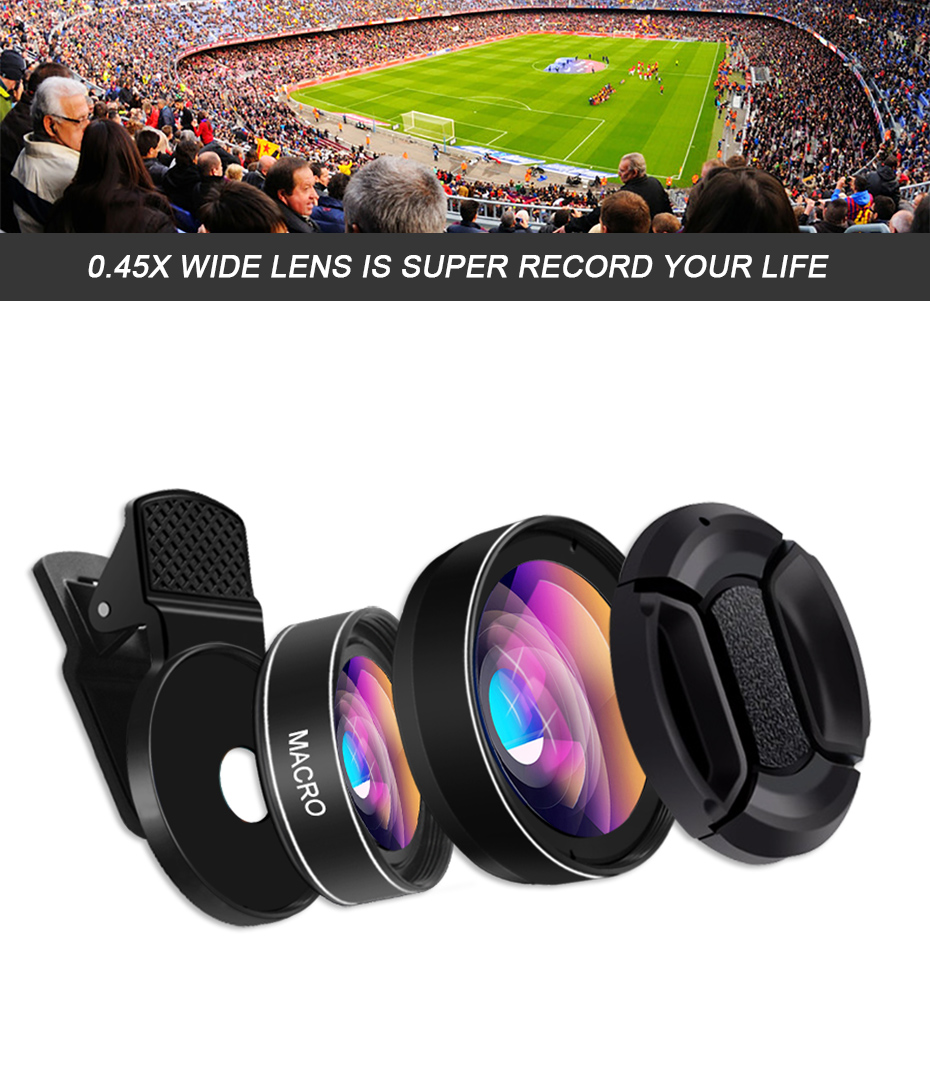 HORUG Mobile Phone Lens For Phone Smart 0.45X Wide Angle 12.5X Cell Micro Phone Camera Lens For iPhone X 8 7 Xiaomi Cellphoone (11)