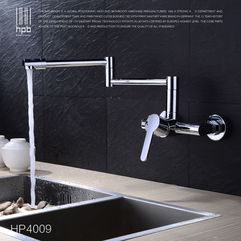 HPB Copper Wall Mounted Kitchen Faucet Sink Bathroom faucets Mixer Tap Cold Hot Water taps Chrome Swivel Spout HP4009 china sanitary ware chrome wall mount thermostatic water tap water saver thermostatic shower faucet