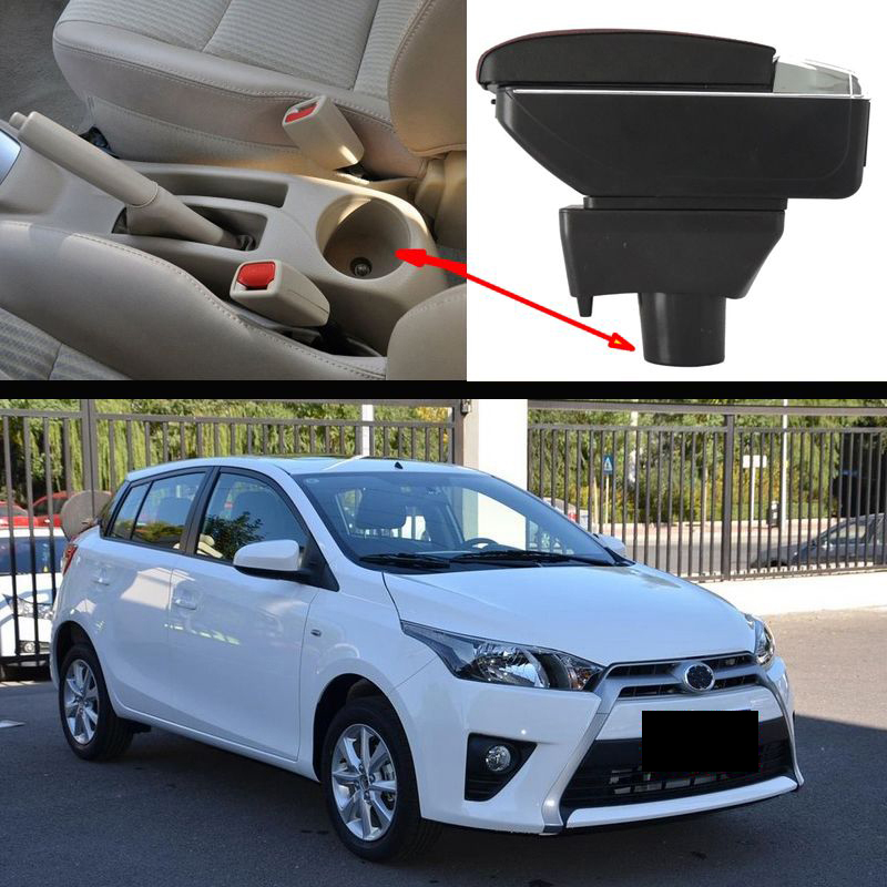 free shipping Car Armrest Central Store Content Storage Box with USB For toyota yaris vios Toyota Yaris 2005-2017 universal leather car armrest central store content storage box with cup holder center console armrests free shipping