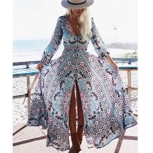 3fb61bc662c4 BOHOFREE Runway Bohemian Long Vestidos V Neck Button High Hem Gypsy Print  Maxi Dress