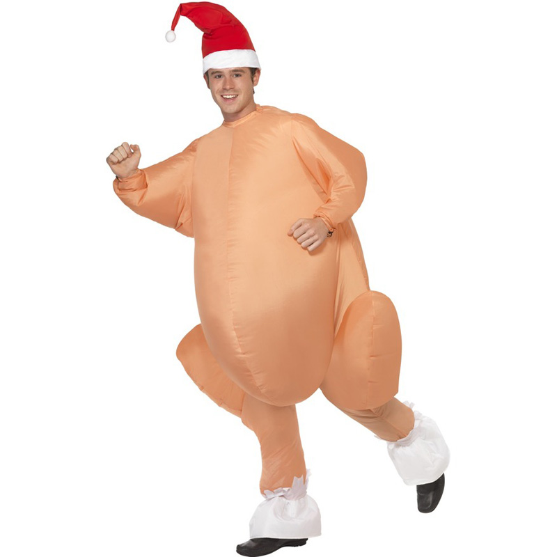 Inflatable Roast Turkey Costume Halloween Chicken For Adults Inflatable Christmas Fancy Dress Mascot Cosplay Costume Clothing