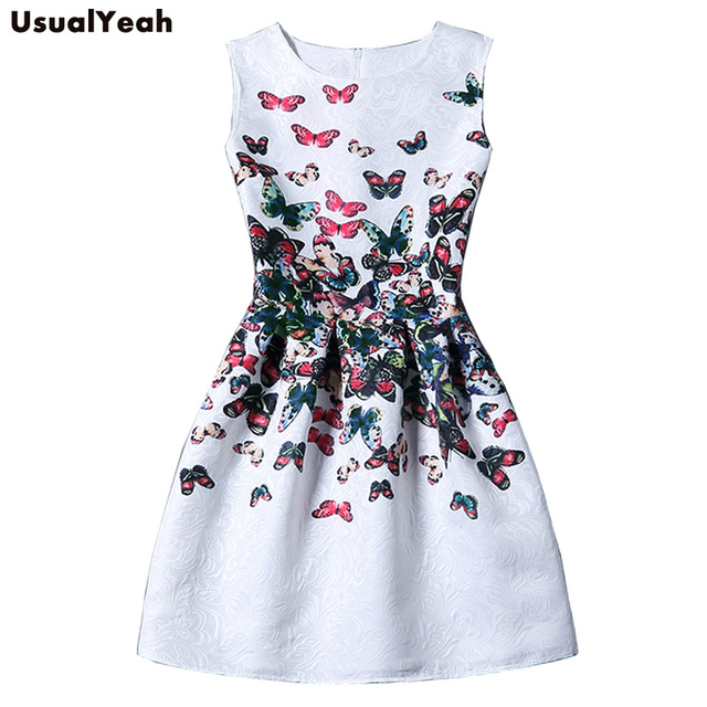 USUALYEAH 2017 Summer Dress Women Butterfly Sleeveless Casual Dresses Vestido de festa Ladies vintage print jacquard clothing