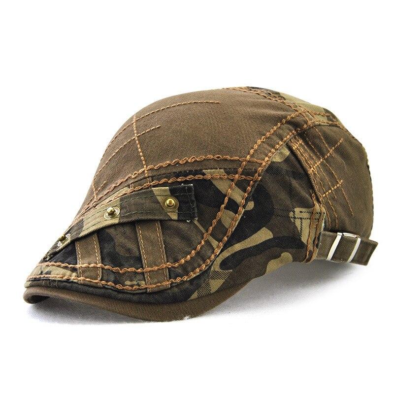Beckyruiwu Pure Cotton Ivy Hat Adult Flat Peaked Cap Women Camouflage Newsboy Hats Men Casual Beret Caps