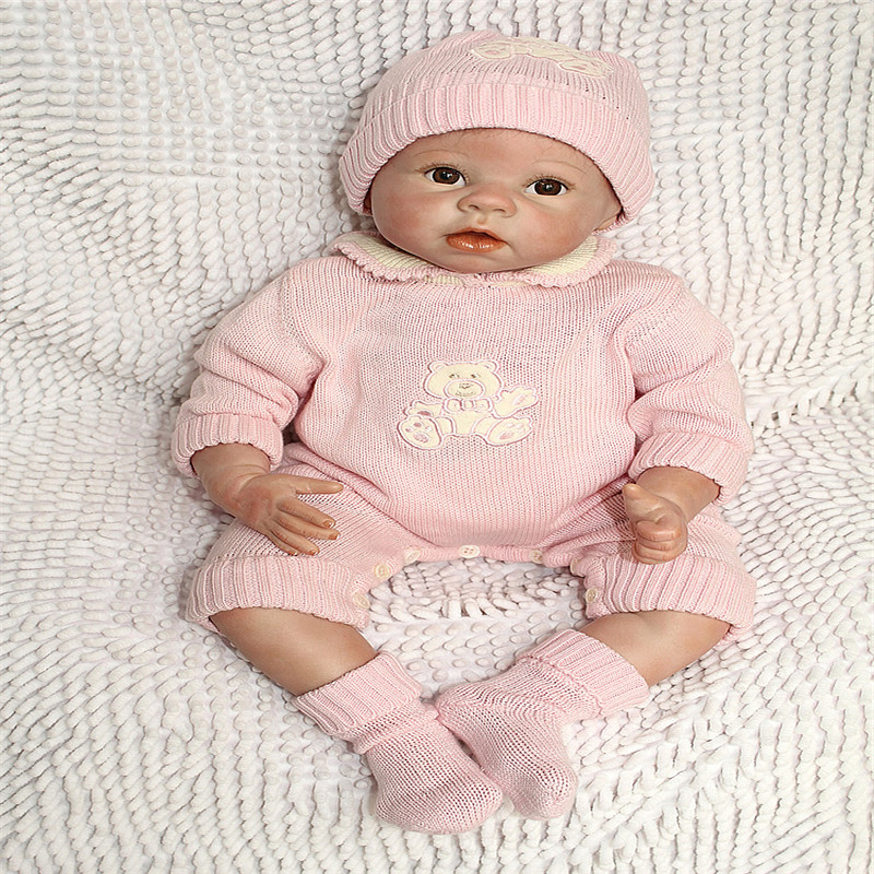 22 Inches Reborn Baby Doll for Vinyl Soft Silicone Hand-Rooted Mohair Lifelike Baby Toys Realistic Babies