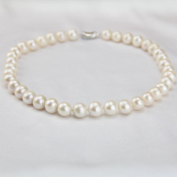Nouveau Arriver bijoux en perles, 11-12mm grande taille près de collier de perles d'eau douce blanches rondes, grand bijoux ras du cou en perles, cadeaux maman