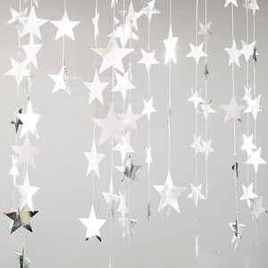 Image 2 - 4M lumineux or argent papier guirlande étoile chaîne bannières bannière de mariage pour fête maison tenture murale décoration bébé douche faveurs