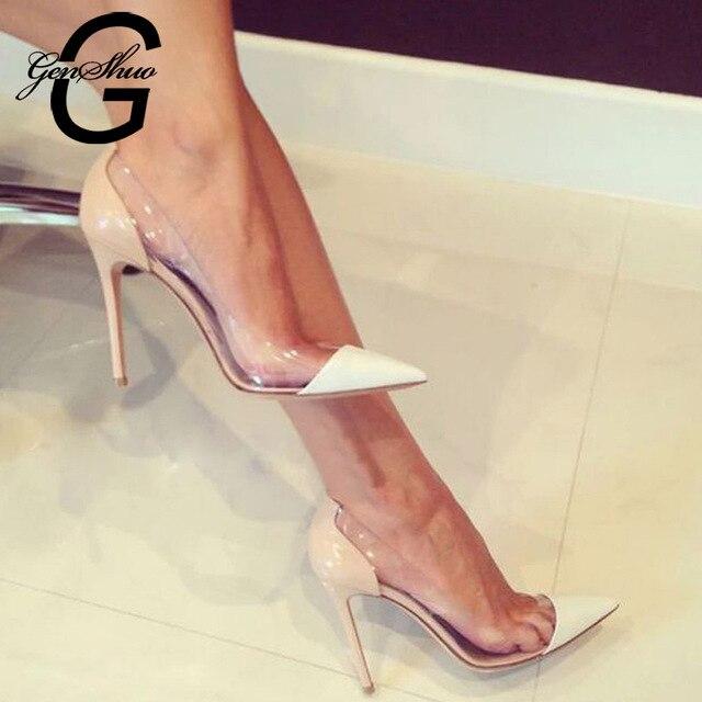 GENSHUO Women Pumps Transparent Thin High Heels 1