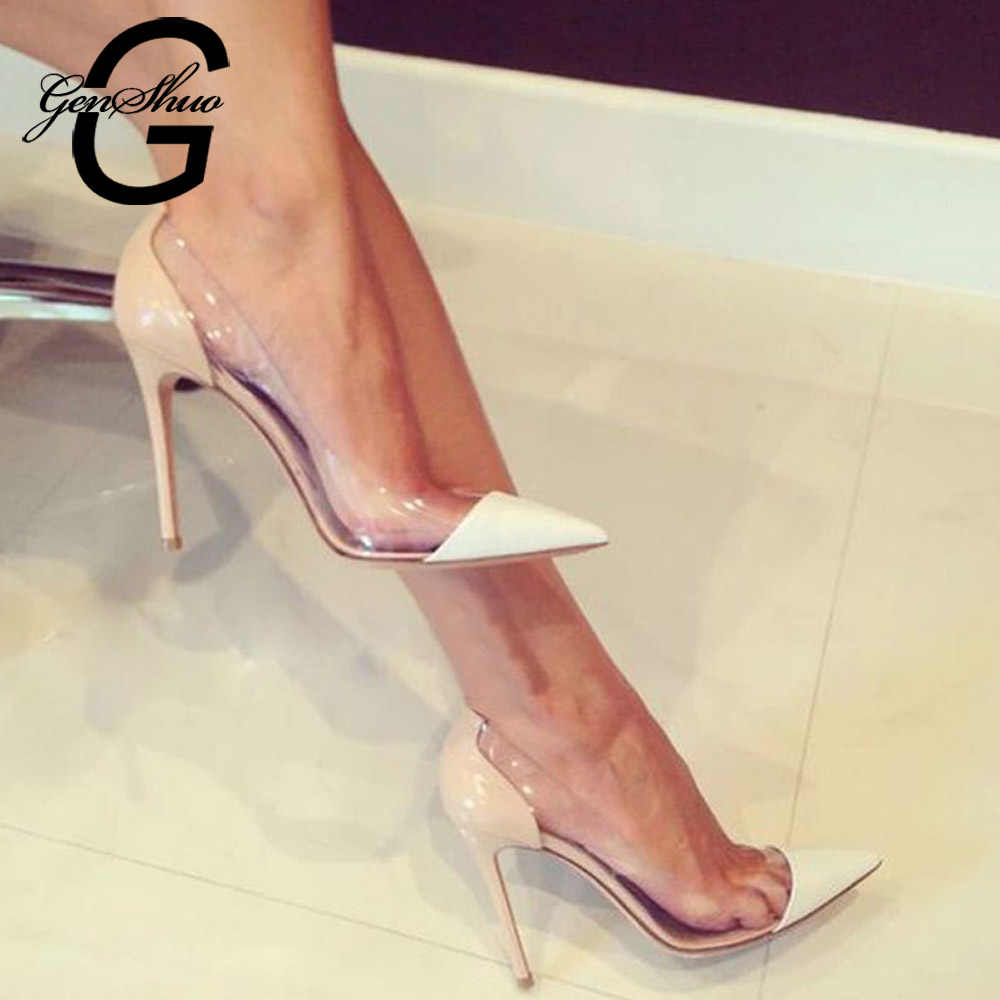 588bc2b19c GENSHUO Women Pumps 2019 Transparent 11cm High Heels Sexy Pointed Toe  Slip-on Wedding Party