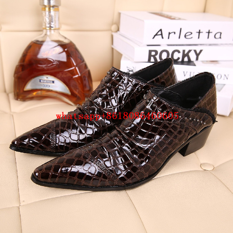 Mens italian leather shoes studded crocodile skin high heels formal shoes men black brown pointec toe zapatos hombre vestir