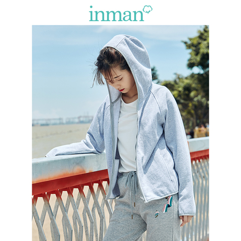 INMAN 2019 Autumn New Arrival Cotton Hoodie Casual All Matched Sport Fashion Women Jacket Pakistan