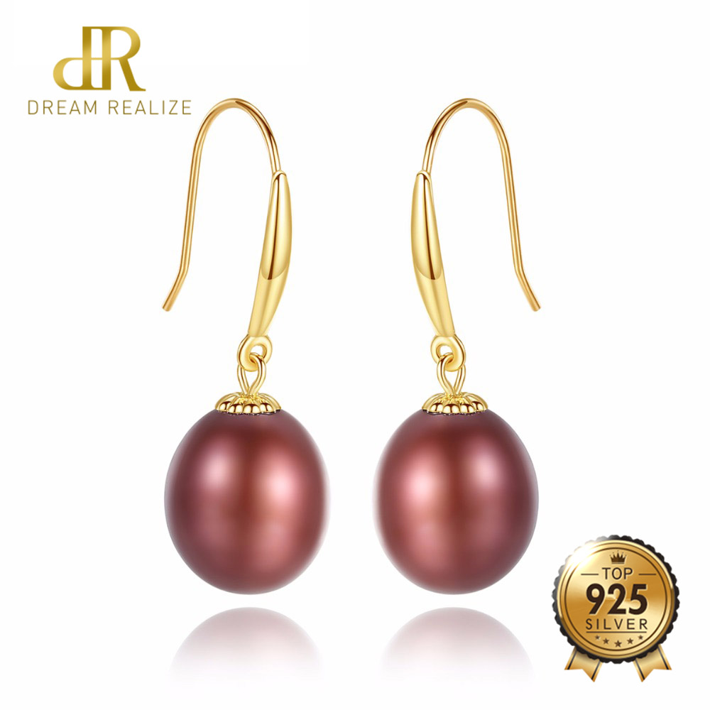 DR Brand 18k Gold Hook Drop Earrings for Women Real Freshwater Pearl Earring 8-9mm 18k Yellow Gold Wedding Jewelry for Female yoursfs 18k white gold plated black rose flower pendant drop hook earring for women