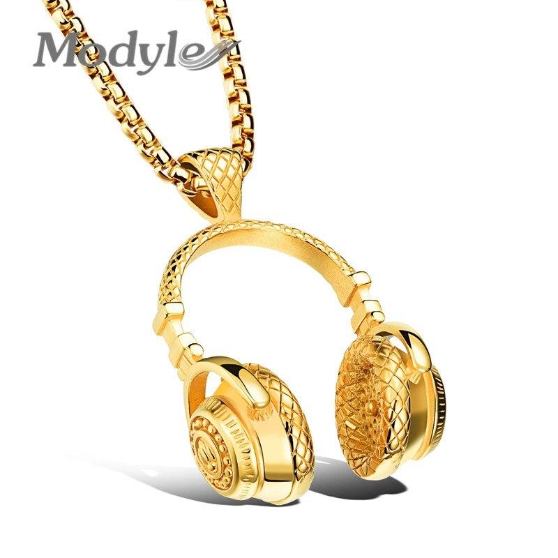 Modyle quente marca de aço inoxidável fones de ouvido pingente colar colares masculino punk colar rock jóias para homem