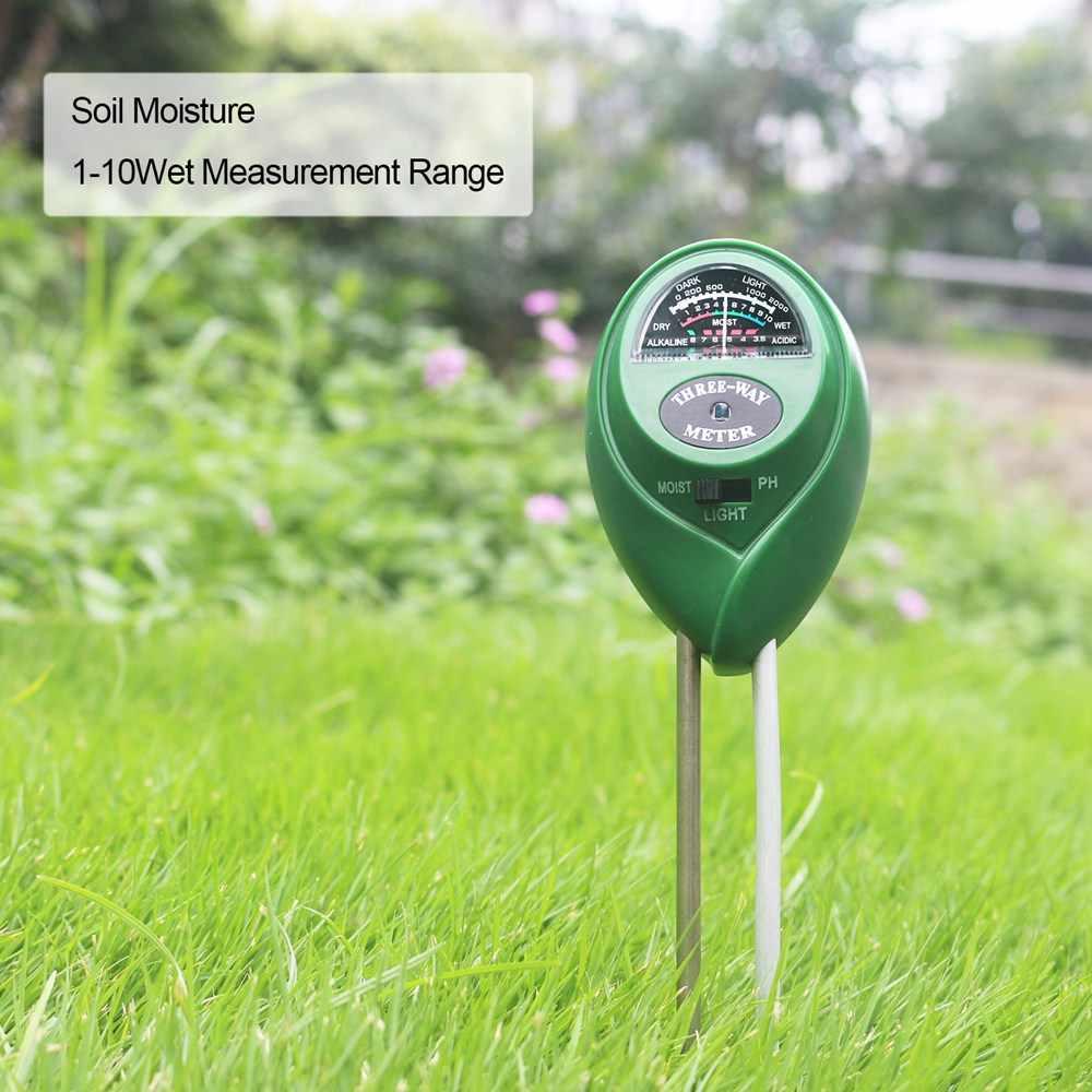 3 w 1 miernik PH miernik wilgotności gleby Monitor Tester temperatury światła słonecznego dla roślin kwiat rolnictwo narzędzia ogrodowe
