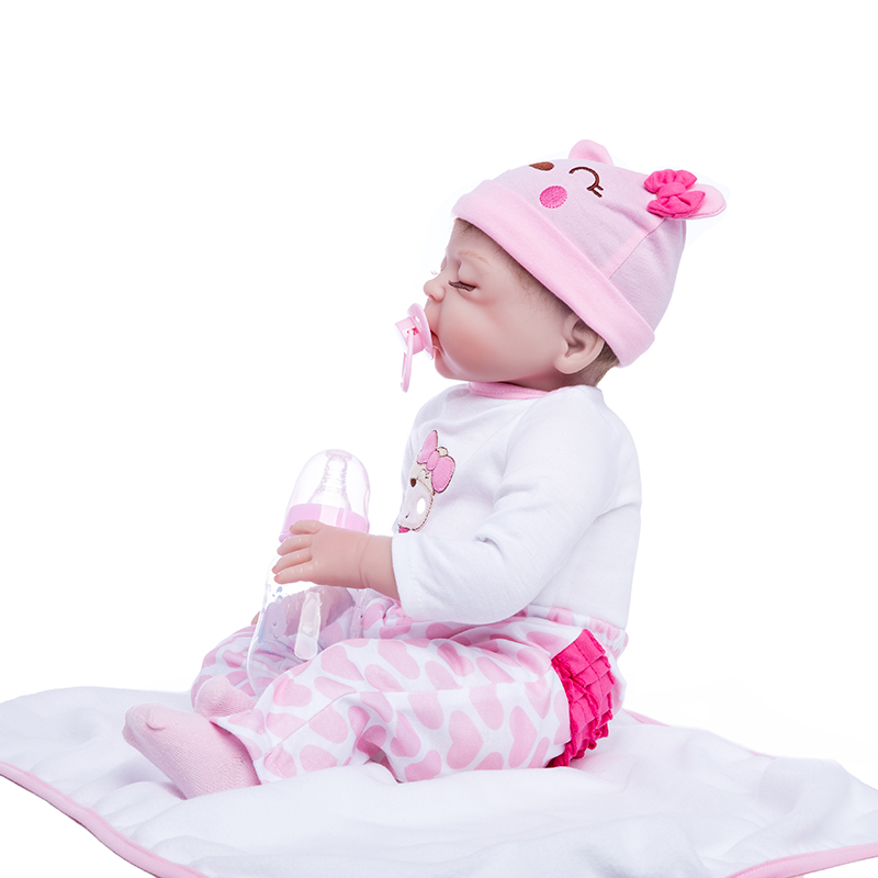 الأميرة آنا 22 بوصة دمية رائعة تولد من جديد سيليكون الطفل تولد من جديد دمى واقعية نابض بالحياة لعب هدية عيد ميلاد-في الدمى من الألعاب والهوايات على  مجموعة 3