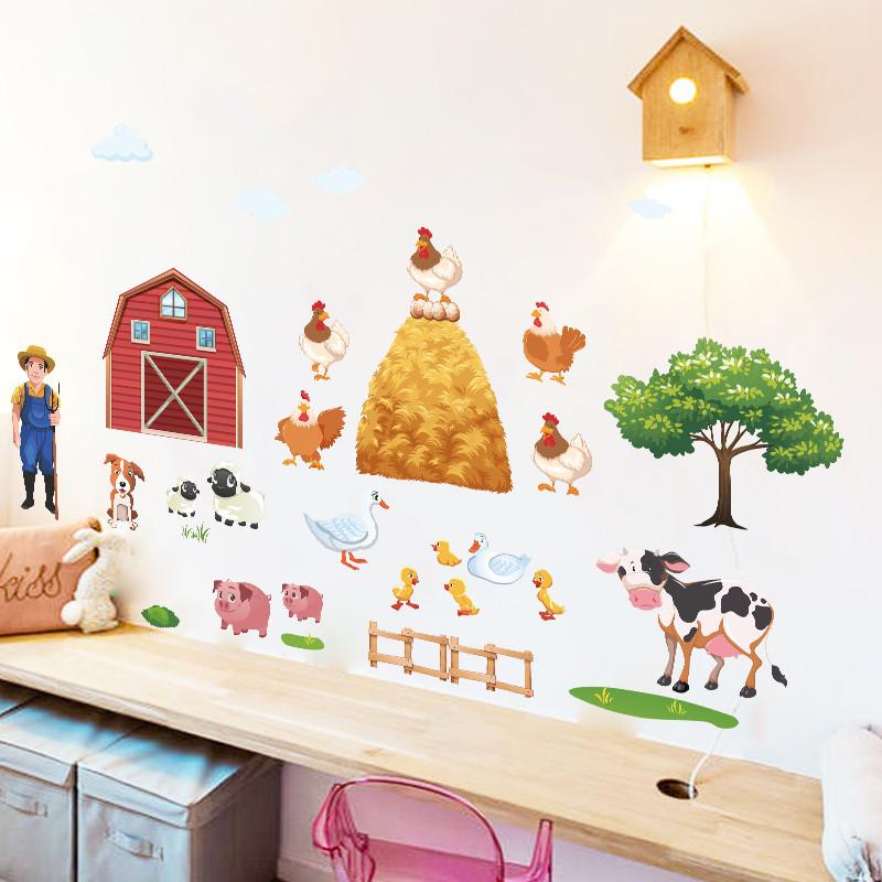 Pegatinas De Pared De Animales De Granja Para Sala De Estar Póster Mural De Dibujos Animados Diy Para Dormitorio Pato Cerdo Gallina Vaca Vinilos Decorativos De Pared De árbol Animal Wall Stickers Wall Stickerstickers